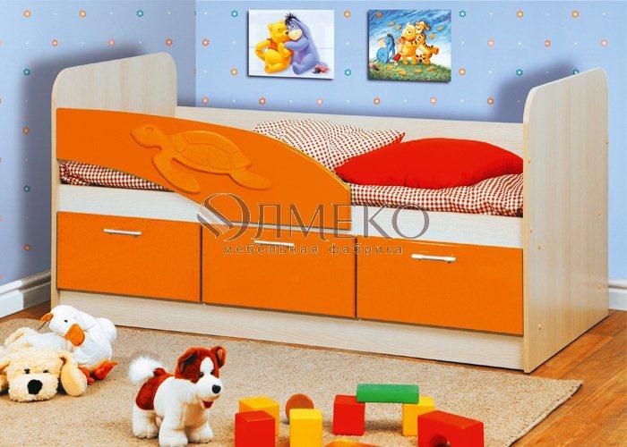 Детская кровать Дельфин (Оранжевый Металлик)